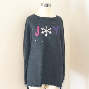 cj banks Gray Holiday Sweater, Crew Neck, Joy